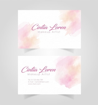 Business card with watercolor stains template