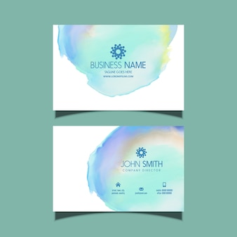 Business card with watercolour design