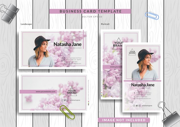 Business card  with woman and flower