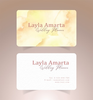 Business card with yellow and gold brushstrokes watercolor template
