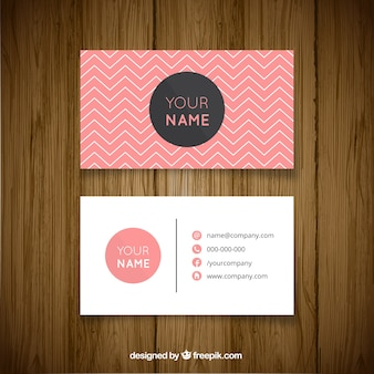 Business card with zigzag lines and pink details
