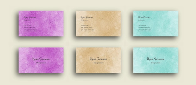Business card wtih abstract watercolor background texture
