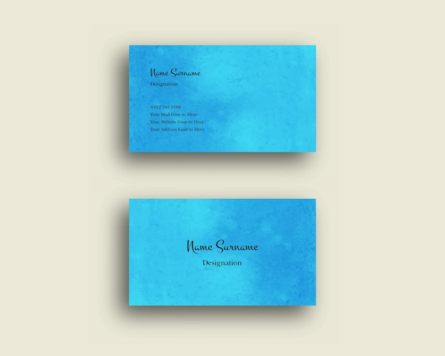 Business card wtih abstract watercolor shading brush design texture