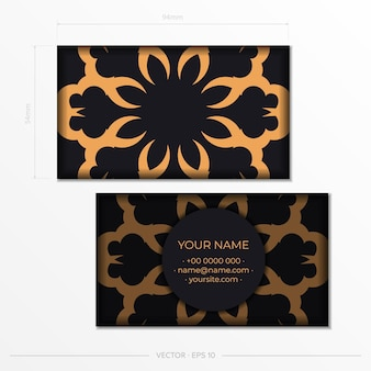 名刺。装飾的な花の名刺、オリエンタルパターン、イラスト。