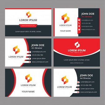 Business cards design red and black templates set