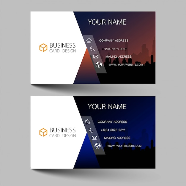 Business cards design two color on the gray background.