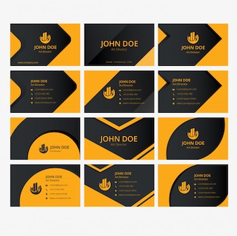 Business cards design yellow and black templates set