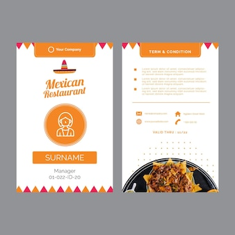 Business cards for mexican restaurant