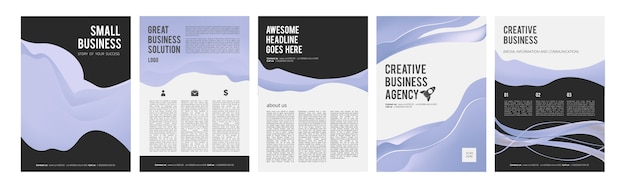 Business cards. modern business flyers for ads, product brochure with place for text vector design collection. presentation banners template. business brochure, report poster, project illustration