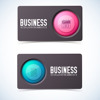 Business cards set with round pictogram and text