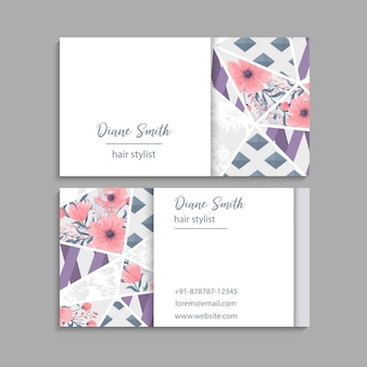 Business cards template abstract pattern. back and front