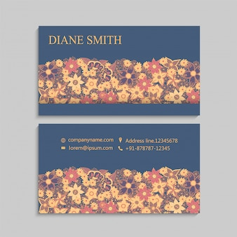 Business cards template hand drawn flowers