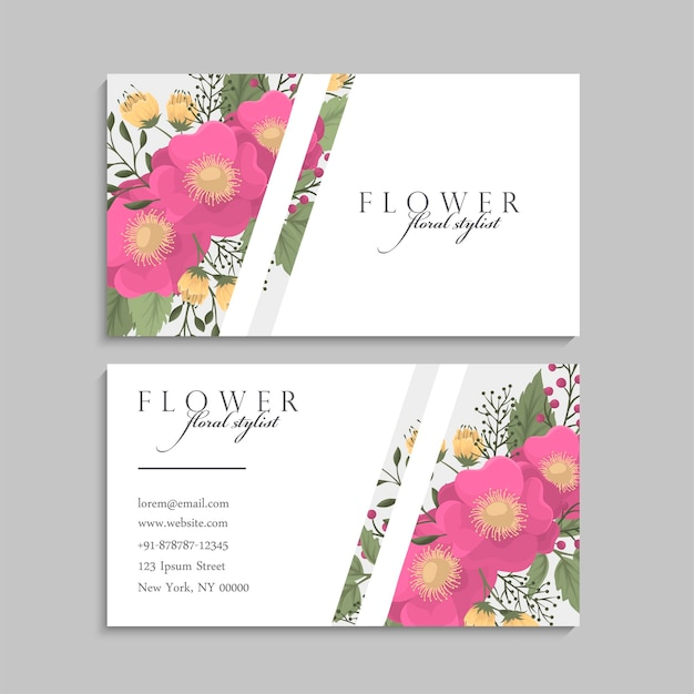 Business cards template hot pink flowers. back and front