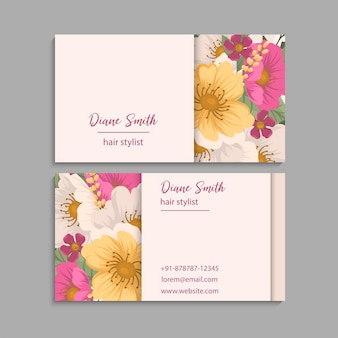 Business cards template pink flowers. back and front