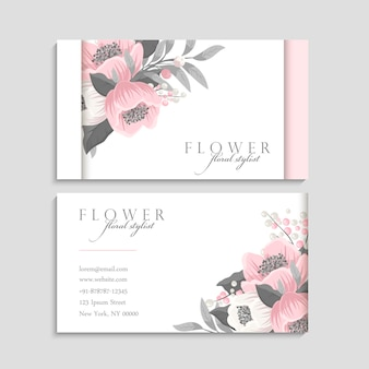 Business cards template pink flowers
