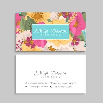 Business cards template pink flowers.