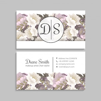 Business cards template pink hand drawn flowers