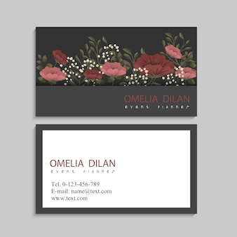Business cards template red and pink flowers
