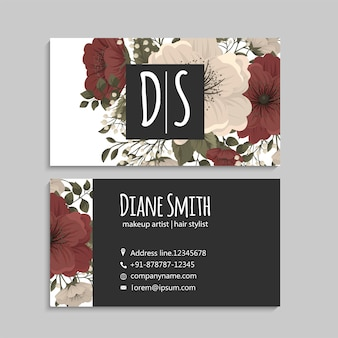 Business cards template red and white flowers