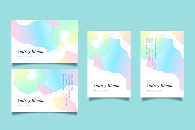 Business cards template with abstract pastel stains
