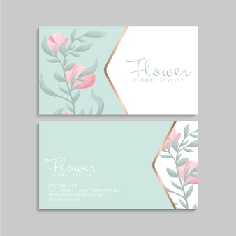 Business cards template with simple pink flowers