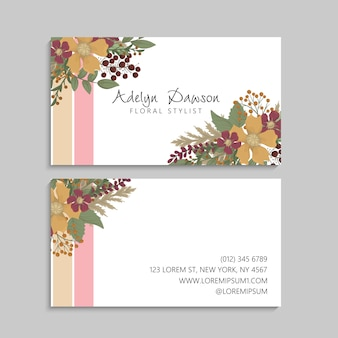 Business cards template yellow flowers