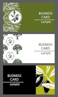 Business cards templates with the image of olive branches and trees.