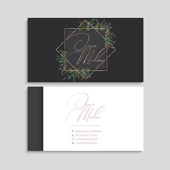 Business cards white and black   red berries