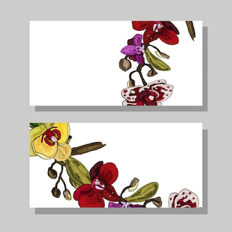 Business cards with blooming orchid decorative floral cards on a white background copy space