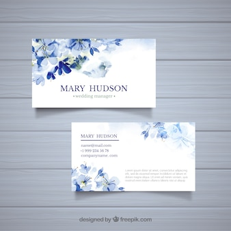 Business cards with blue watercolor flowers