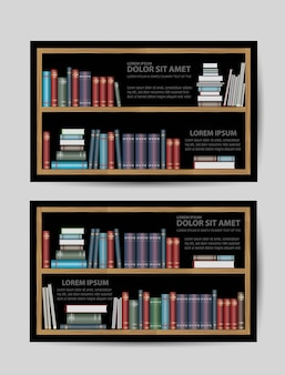 Business cards with books and bookshelves