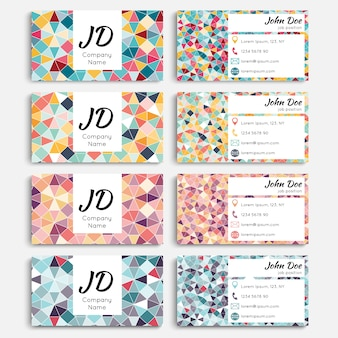 Business cards with geometric elements.