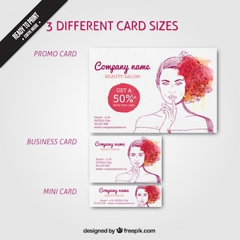 Business cards with a hand drawn woman