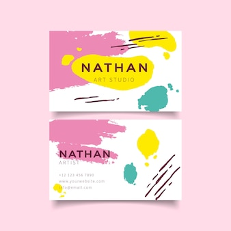 Business cards with hand painted template