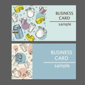 Business cards with images of dairy products