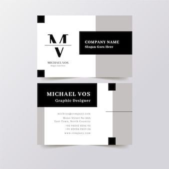 Business cards with monochrome template