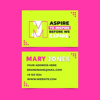 Business cards with neon template
