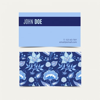Business cards with vintage floral background.