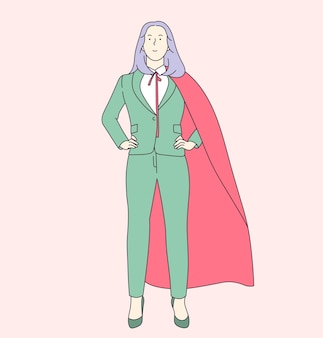 비즈니스 경력 성장과 리더십 개념. 성공적인 비즈니스 여자 또는 여자 회사원 양복과 빨간 케이프.