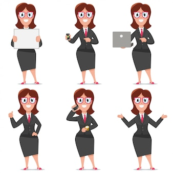 Business cartoon character of woman office worker. vector set design of flat people in presentation poses isolated