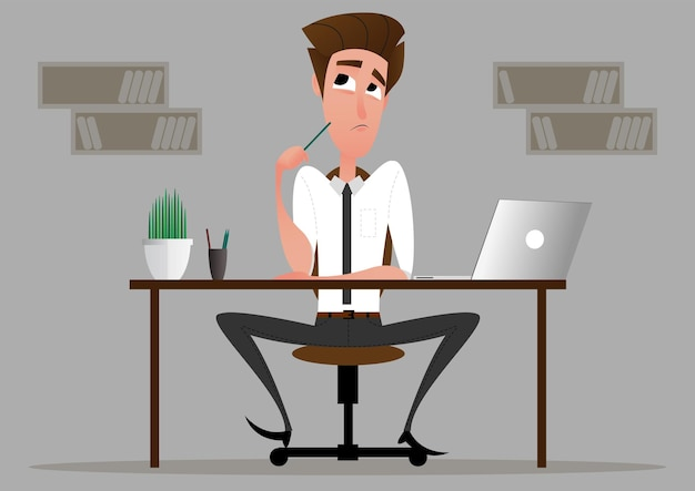 Business cartoon character in the working environment. young worker looking for an idea for a startup business. vector image.