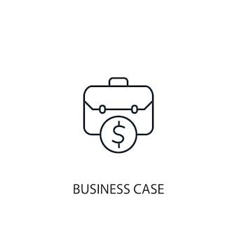 비즈니스 사례 개념 라인 아이콘입니다. 간단한 요소 그림입니다. 비즈니스 사례 개념 개요 기호 디자인입니다. 웹 및 모바일 ui/ux에 사용할 수 있습니다.