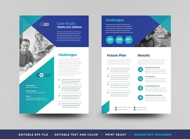 ビジネスケーススタディデザインまたはマーケティングシートドキュメントデザイン