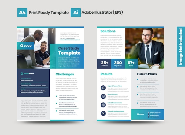 Business case study or marketing sheet and flyer design