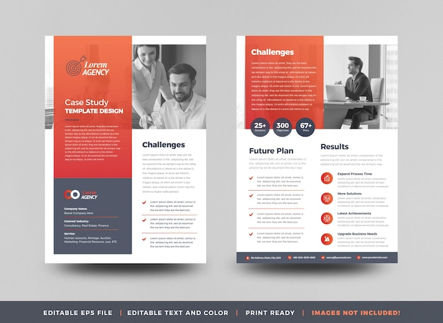 Business case study or marketing sheet and flyer designa