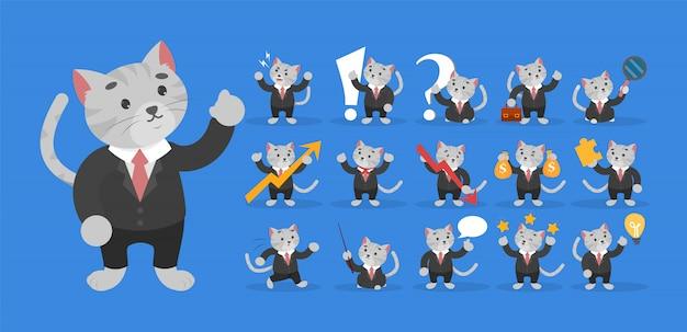 黒のスーツのセットでビジネス猫。ビジネスマンのキャラクター