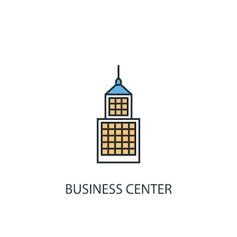 Business center concept 2 colored line icon. simple yellow and blue element illustration. business center concept outline symbol design