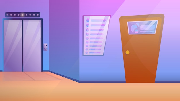 Business center corridor with elevator and door to office, vector illustration