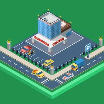 Business center isometric illustration