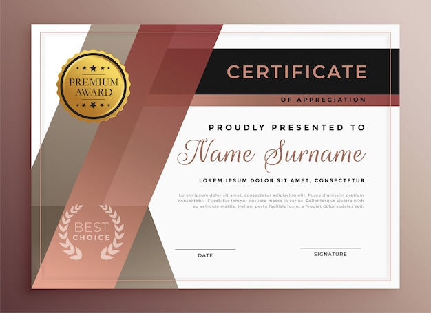 Business certificate template in modern geometric style